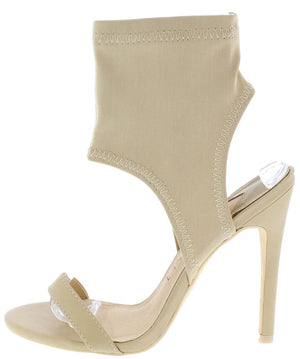 9c34dbbe1a7ef9 Alexander195 Nude Open Toe Fitted Ankle Cut Out Stiletto Heel - Wholesale  Fashion Shoes