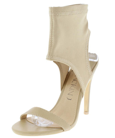 Alexander195 Nude Open Toe Fitted Ankle Cut Out Stiletto Heel - Wholesale Fashion Shoes