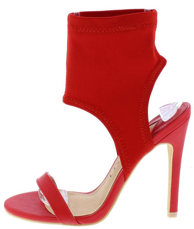Alexander195 Red Open Toe Fitted Ankle Cut Out Stiletto Heel - Wholesale Fashion Shoes