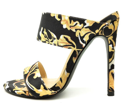 Hazel249 Printing Dual Strap Open Toe Stiletto Mule Heel - Wholesale Fashion Shoes