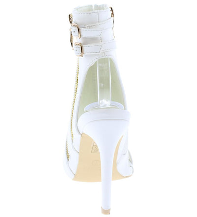 Makayla171 White Double Zip Rear Double Buckle Cut Out Heel - Wholesale Fashion Shoes