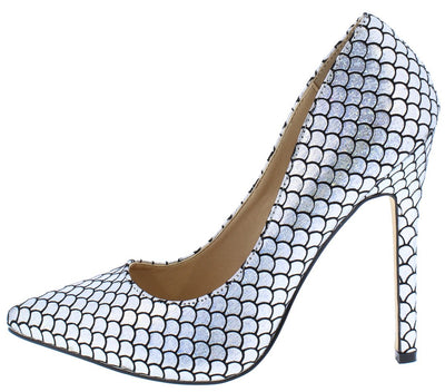 Sarah238 Silver Pointed Toe Metallic Mermaid Stiletto Heel - Wholesale Fashion Shoes