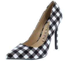 Gabriella038 Black White Gingham Pointed Toe Stiletto Heel - Wholesale Fashion Shoes