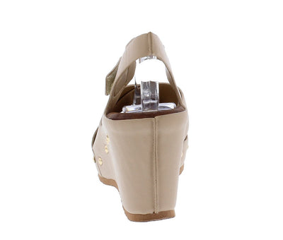Aubrey104 Beige Open Toe Cross Strap Stud Sole Wedge - Wholesale Fashion Shoes