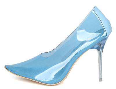 Julian289 Blue Clear Lucite Pointed Toe Stiletto Heel - Wholesale Fashion Shoes