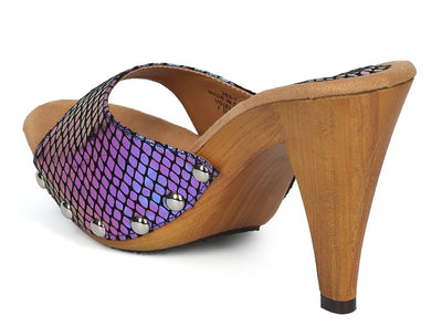 Hailey111 Purple Open Toe Holographic Mule Wood Heel - Wholesale Fashion Shoes