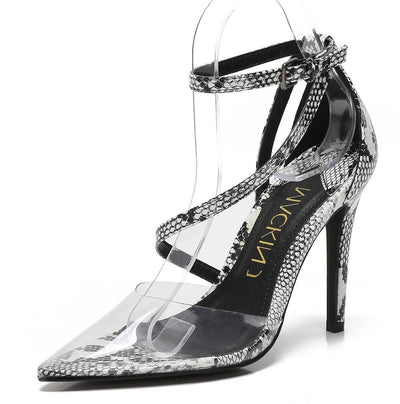 Mary188 Snake Lucite Pointed Toe Wrap Strap Stiletto Heel - Wholesale Fashion Shoes
