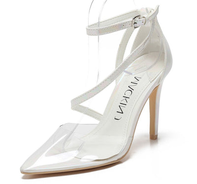 Mary188 White Oil Lucite Pointed Toe Wrap Strap Stiletto Heel - Wholesale Fashion Shoes