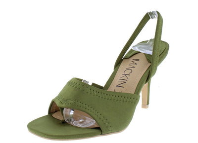 Auror259 Olive Square Open Toe Slingback Short Heel - Wholesale Fashion Shoes