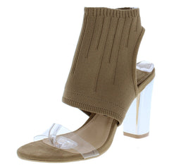 Athena181 Beige Open Toe Cut Out Knit Cuff Lucite Heel - Wholesale Fashion Shoes