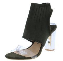 Athena181 Olive Open Toe Cut Out Knit Cuff Lucite Heel - Wholesale Fashion Shoes