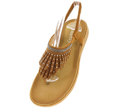 396 CAMEL FRINGE RHINESTONE SANDAL - Wholesale Fashion Shoes
