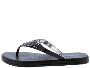6a39d783a 6134 Black Studded Gem Embellished Thong Flat Sandal - Wholesale Fashion  Shoes