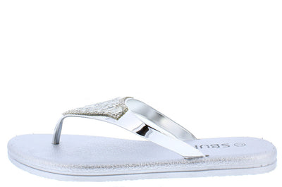 6134 Silver Studded Gem Embellished Thong Flat Sandal - Wholesale Fashion Shoes