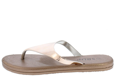 Addision191 Champagne Mirror Finish Slide On Y Thong Sandal - Wholesale Fashion Shoes