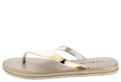 Addision191 Gold Mirror Finish Slide On Y Thong Sandal - Wholesale Fashion Shoes