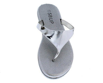 Addision191 Silver Mirror Finish Slide On Y Thong Sandal - Wholesale Fashion Shoes