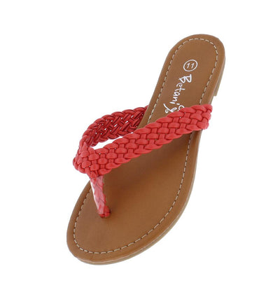 615g Coral Braided Thong Flat Kids Sandal - Wholesale Fashion Shoes
