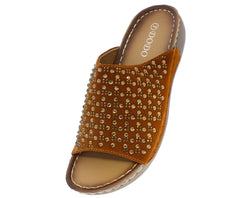 717 BROWN RHINESTONE SLIP ON SANDAL - Wholesale Fashion Shoes
