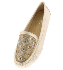 820 GOLD RHINESTONE DIAMOND DETAIL LOAFER FLAT - Wholesale Fashion Shoes
