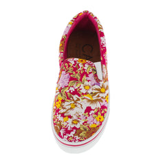 90001 PINK MULTI FLORAL SLIP-ON SNEAKER FLAT - Wholesale Fashion Shoes