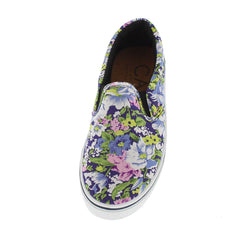 90001 NAVY MULTI FLORAL SLIP-ON SNEAKER FLAT - Wholesale Fashion Shoes