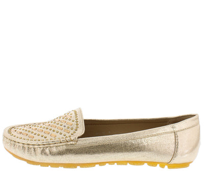 9100 Gold Slide on Rhinestone Loafer Leisure Flat - Wholesale Fashion Shoes