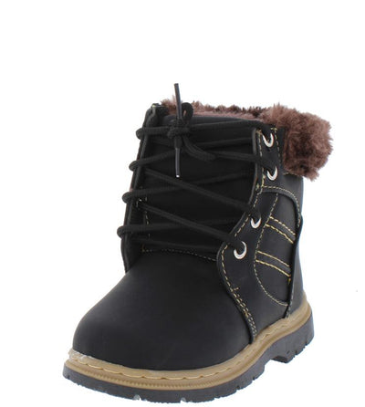 A1km Black Faux Fur Lace Up Lug Sole Kids Boot - Wholesale Fashion Shoes