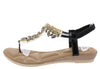 A28139 Black Jeweled T Strap Slingback Thong Sandal - Wholesale Fashion Shoes