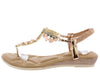A28139 Champagne Jeweled T Strap Slingback Thong Sandal - Wholesale Fashion Shoes
