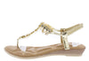 A28139 Gold Jeweled T Strap Slingback Thong Sandal - Wholesale Fashion Shoes
