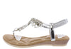 A28139 Silver Jeweled T Strap Slingback Thong Sandal - Wholesale Fashion Shoes