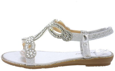 Natalie250 Silver Rhinestone Embellished Slingback Sandal - Wholesale Fashion Shoes