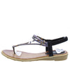 A2911 Black Sparkle T Strap Slingback Thong Sandal - Wholesale Fashion Shoes