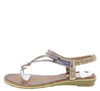 A2911 Brown Sparkle T Strap Slingback Thong Sandal - Wholesale Fashion Shoes