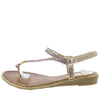 A291 Gold Sparkle T Strap Slingback Thong Sandal - Wholesale Fashion Shoes