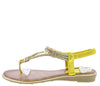 A291 Yellow Sparkle T Strap Slingback Thong Sandal - Wholesale Fashion Shoes