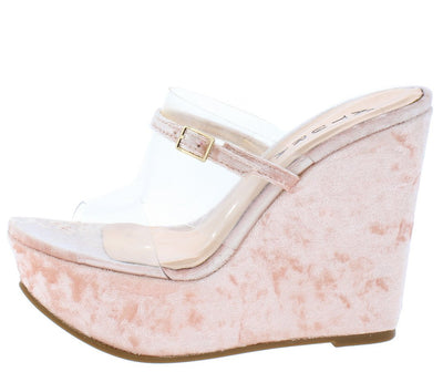 Amanda Light Peach Velvet Lucite Open Toe Cut Out Platform Wedge - Wholesale Fashion Shoes