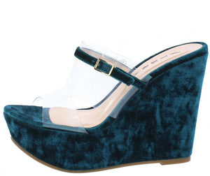 de96111288c6 Amanda Teal Velvet Lucite Open Toe Cut Out Platform Wedge - Wholesale  Fashion Shoes