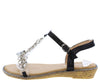 AA96 Black Heart Sparkle Open Toe T Strap Slingback Sandal - Wholesale Fashion Shoes