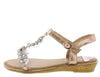 AA96 Champagne Heart Sparkle Open Toe T Strap Slingback Sandal - Wholesale Fashion Shoes