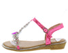AA96 Fuchsia Heart Sparkle Open Toe T Strap Slingback Sandal - Wholesale Fashion Shoes