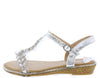 AA96 Silver Heart Sparkle Open Toe T Strap Slingback Sandal - Wholesale Fashion Shoes