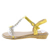 AA96 Yellow Heart Sparkle Open Toe T Strap Slingback Sandal - Wholesale Fashion Shoes