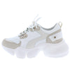 Sage1 White Lace Up Chunky Lug Sole Sneaker Flat - Wholesale Fashion Shoes