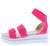 Addie02 Fuchsia Stretch Strappy Open toe Lug Sole Wedge