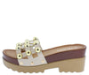 Marit8 Beige Stud Caged Open Toe Chunky Lug Sandal - Wholesale Fashion Shoes