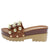 Marit8 Brown Stud Caged Open Toe Chunky Lug Sandal