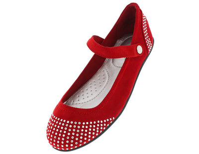 Aidan03 Red Rhinestone Ankle Strap Flat - Wholesale Fashion Shoes