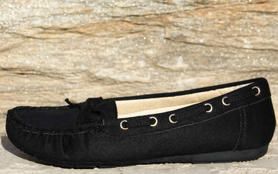 Akina Black Bow Detail Boat Shoe Flat - Wholesale Fashion Shoes